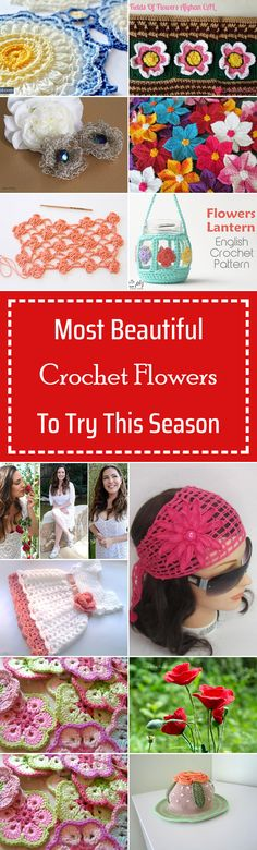 30 Most Beautiful Crochet Flowers To Try This Season Freeform Crochet, Crochet Motif, Free Crochet, Knit Crochet, Blanket Crochet, Crochet Home, Crochet Crafts, Yarn Crafts, Crochet Projects
