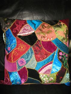 crazy quilts... Love the velvet and the shine.