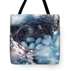 Oksana Ariskina Tote Bag featuring the photograph Birdnest With Blue Eggs by Oksana Ariskina #OksanaAriskina #OksanaAriskinaFineArtPhotography #ArtForHome #FineArtPrints #InteriorDesign #PrintsForSale  #Egg #Spring #Bird #Birdnest #nest #Blue #Songbird #easter