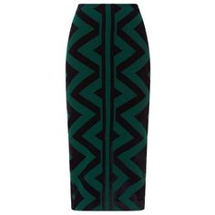 Burberry Geometric Print Pencil Skirt featuring polyvore, women's fashion, clothing, skirts, bottoms, burberry, gonne, burberry skirt, pencil skirt, knee length pencil skirt and green skirt