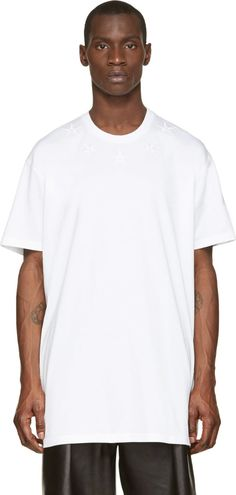 #Givenchy - White Out Star Embroidered T-Shirt
