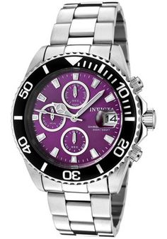 Invicta Watch 1006 Men's Pro Diver Chronograph Purple Dial Stainless Steel | eBay