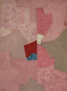 "peinture russe abstraite : Serge Poliakoff, 1954, ""composition en rose"", 1950s"