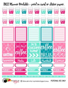 FREE Printable Planner Stickers - Coffee.  Print these planner elements onto sticker paper or just card stock, cut carefully with scissors and fill up your planner with coffee dates.