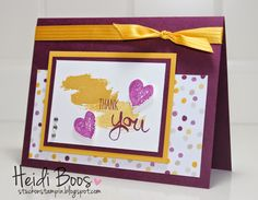 handmade card from studkonstampoin.blogspot ... Work of Art splotches and hearts ... luv how the golden yellow and maroon work together on this card ... I never would have chosen these colors, but they look great together here ... like the card laout too ... Stampin'Up!