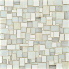 Ann Sacks - Chrysalis, large applique mosaic in rain cloud, white swirl, off white and bright white