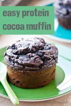 A healthy recipe for gluten-free grain-free sugar-free chocolate protein muffins. Muffins that are made with duck eggs! Protein Powder Recipes, High Protein Recipes, Protein Snacks, Low Carb Recipes, Protein Bars, Free Recipes, Protein Cookies, Protein Deserts, Ideal Protein