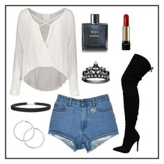 """""""white t-shirt"""" by solonora ❤ liked on Polyvore featuring Chanel, Lancôme and Humble Chic"""