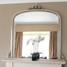 Beaded Edge Overmantle Fireplace Mirror