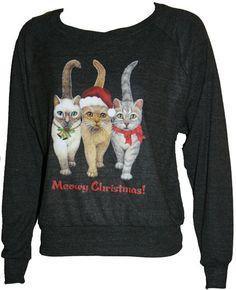"MEOWY CHRISTMAS Cats American Apparel Slouchy Raglan Sweatshirt  ""Sweater"" Black  L. $29.50, via Etsy."