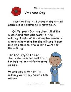 Veterans Day Reading and Writing Activity: Level B