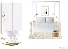 Planche tendance/moodboard Chambre à coucher | Shopping : Chic Cham, Muuto, Kizuku, Artemide, Vitra, Interio, Maisons du Monde | © Gris Souris