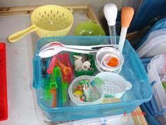 "{Playing with Water} What type of ""tools"" do you have available at your water table? #WaterFun #CampSunnyPatch"