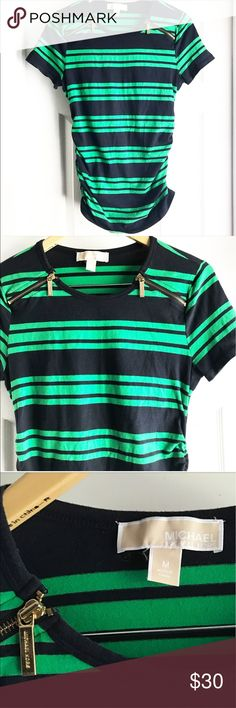 Michael Kors Green & Navy Striped Tee with Zippers Navy and green stripes make this such an amazing piece that is a staple for any wardrobe! Can be dressed down or up for office wear! Double zipper details on the front are such a fun addition! Elastic/gathered sides give a flattering fit. EUC. Michael Kors Tops Tees - Short Sleeve