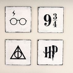 Harry Potter Hand Painted Wooden Signs Piece Set) by YellowDogSigns on Etsy – Paris Disneyland Pictures Baby Harry Potter, Harry Potter Tisch, Harry Potter Canvas, Estilo Harry Potter, Harry Potter Fiesta, Décoration Harry Potter, Harry Potter Thema, Harry Potter Painting, Geek Decor