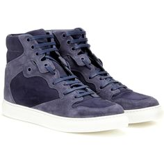 Balenciaga Suede High-Top Sneakers ($465) ❤ liked on Polyvore featuring shoes, sneakers, blue, suede sneakers, suede high tops, blue shoes, high top trainers and blue suede shoes