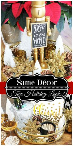 Create two different DIY looks in your home for Christmas and the New Year with the same holiday decor! Such a smart idea! #ad