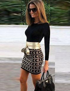 Women's Work Bodycon Dress,Patchwork Round Neck Mini Long Sleeve Black Cotton Fall 4358618 2016 – €15.67