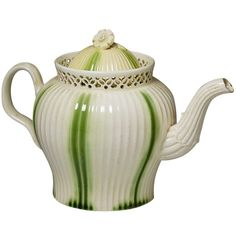 Antique 18th century period creamware pottery teapot with green stripe glaze   From a unique collection of antique and modern pottery at https://www.1stdibs.com/furniture/dining-entertaining/pottery/