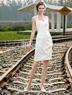 Sheath/ Column Halter Short/ Mini Satin Wedding Dress - pin up