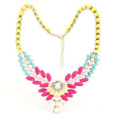 Diy Multicolor Multilayer Gemstone V Shape Pendant Design Alloy Fashion #Necklaces www.asujewelry.com