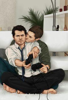 Cas and Dean play Xbox