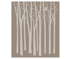"Birch Tree Silhouettes Paint by Number Wall Mural by Elephants on the Wall. $69.95. Theme: Trees & Nature. Usually ships in 1-2 weeks7'2""tall x 6' wideThis sophisticated birch tree silhouette do it yourself wall mural is a subtle, must-have addition to your home. Choose your shade and layer the stencil to create depth! Add the owl or choose not to--it's up to you! If you are looking for easy but unique kid's room paint ideas, then Elephants on the Wall has the perfect ..."