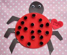 Valentine's Day Kid's Craft. their fingerprints instead of pom poms