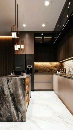 Modern Kitchen Interiors, Luxury Kitchen Design, Kitchen Room Design, Kitchen Cabinet Design, Luxury Kitchens, Home Decor Kitchen, Modern House Design, Interior Design Kitchen, Interior Modern