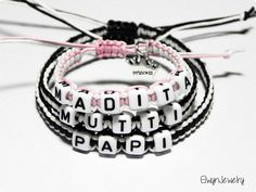 Items Similar To Family Name Bracelets Matching Personalized Baby Bracelet Daddy Mommy Fathers Day Gift