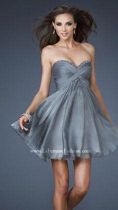 La Femme 18177 Platinum Open Back Prom Dress