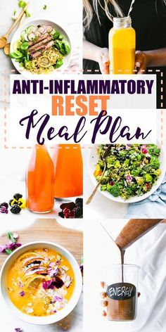 The anti-inflammatory diet meal plan is a simple, healthy meal plan to RESET your body from oxidative stress. If you're confused by the word anti-inflammatory, these healthy recipes are for you! Learn what foods help reduce inflammation and get delicious Healthy Diet Plans, Healthy Meal Prep, Diet Meal Plans, Healthy Snacks, Healthy Eating, Simple Healthy Recipes, Detox Meal Plan, Keto Meal, Healthy Meal Planning