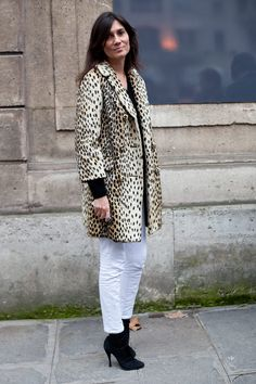 Emmanuelle Alt - leopard coat, white denim, black booties