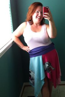some fun kids t-shirts i transformed into a skirt, and it works as a poncho too! woohoo! yeah me.