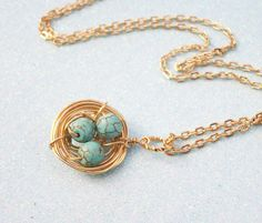 Gold Birds Nest Pendant Genuine Turquoise by Kikiburrabeads, $18.50