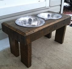 Recycled pallet dog stand pet feeding station with 2 by Kustomwood, $49.99