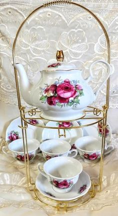 10 Piece Pink Rose Porcelain Tea Set with Metal Stand