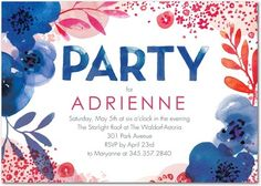 Lush Bouquet - Adult Birthday Party Invitations in Capri Blue or Citrus | Petite Alma