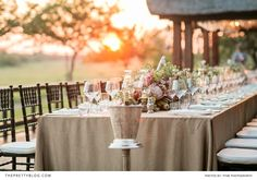 An South African sunset is the perfect setting for a reception | Photographers: Tyme Photography | Venue: Jamala Madikwe Royal Safari Lodge