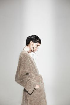 Knitting Patterns Coat Eden Mohair Knit Coat with Ava Silk Dress Fashion Moda, Knit Fashion, Trendy Fashion, Dress Fashion, Style Fashion, Fashion 2020, 90s Fashion, Korean Fashion, Runway Fashion