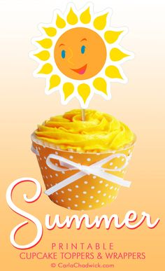 Printable Summer Sun Cupcake Toppers and Wrappers from the Kindle book *Printable Year-Round Cupcake Toppers and Wrappers* | Includes downloadable files, instructions and tips for embellishment  #Summer #Cupcakes #Printables #CarlaChadwick Printable Invitations, Party Printables, Free Printables, Printable Labels, Summer Cupcakes, Fun Cupcakes, Paper Crafts Origami, Diy Paper, Summer Kids