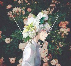 아름다운 아이, 꽃과 함께 서다.
