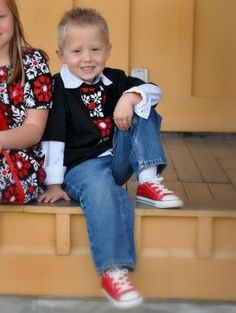 Black, White, Red All Over Tie Shirt-  Baby Toddler Boys - Perfect for Fall and Winter - Great for Valentine's Day