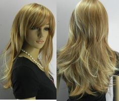 New Fashion women's girls brown &light blonde mix long straight full WIG+wig cap Pretty Hairstyles, Wig Hairstyles, Long Hair Cuts, Long Hair Styles, Cosplay Hair, Cosplay Wigs, Corte Y Color, Def Not, Light Blonde