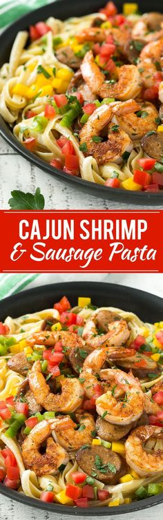 This recipe for Cajun shrimp and sausage pasta is sauteed shrimp and smoked sausage with colorful vegetables, all served over a creamy fettuccine pasta. Dinner's ready in less than 30 minutes with ple (Bake Shrimp Cajun) Shrimp Recipes Easy, Cajun Recipes, Fish Recipes, Seafood Recipes, Pasta Recipes, Cooking Recipes, Healthy Recipes, Korean Recipes, Sausage Recipes