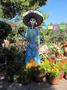 Outside the Mexican Restaurant, Rancho Del Zocalo, at Disneyland... Decorated for Day of the Dead