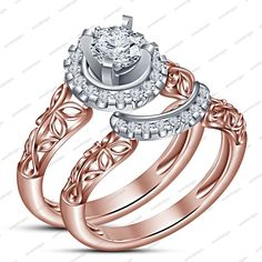 18k Rose Gold Over 925 Silver White Sim Diamond Disney Wedding Bridal Set Pair #aonedesigns #WeddingEngagementAnniversaryBrithdayPartyGift