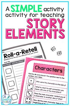 Find out about a simple dice game you can use with elementary students to work on story elements in a fun and engaging way! Story Elements Activities, Retelling Activities, Reading Activities, Teaching Reading, Fun Activities, Guided Reading, Summarizing Activities, Student Teaching, Teaching Tools