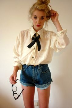 ribbon around collared shirt Im in love with this.#Repin By:Pinterest++ for iPad#