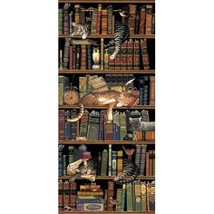 Classic Tails Library Books Cats Tapestry Wall Hanging -- Classic Tails by Charles Wysocki Crazy Cat Lady, Crazy Cats, Book Lovers, Cat Lovers, Image Chat, Library Books, Library Shelves, Bookshelves, Grand Library